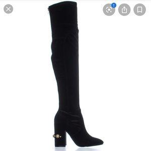 IVanka Trump Velvet embellished over the knee boot